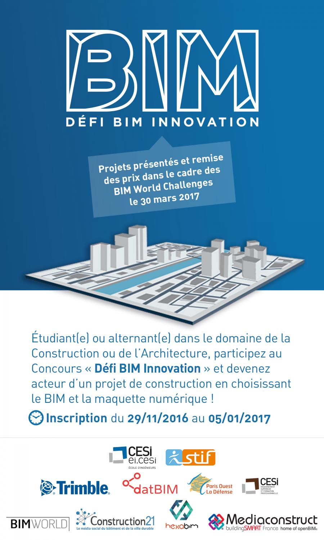 Le concours « Défi BIM Innovation 2017 » est lancé