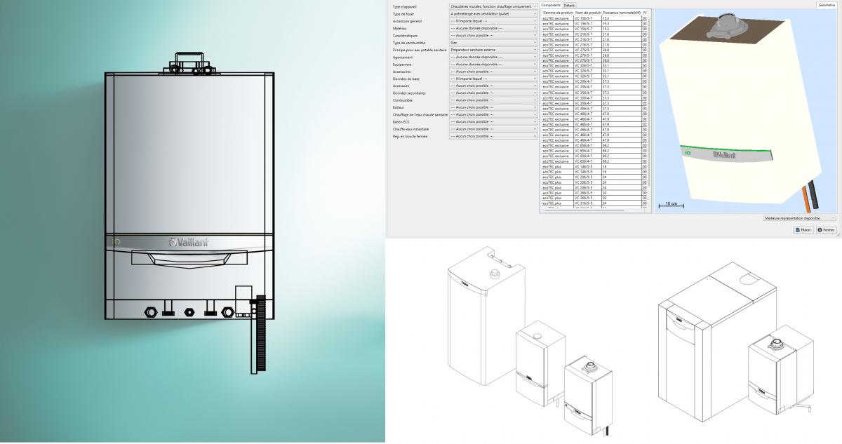 Sélecteur VDI3805 d'éléments de production de chaleur