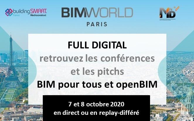 openBIM : rdv confirmé 7-8 oct avec un BIM World hybride