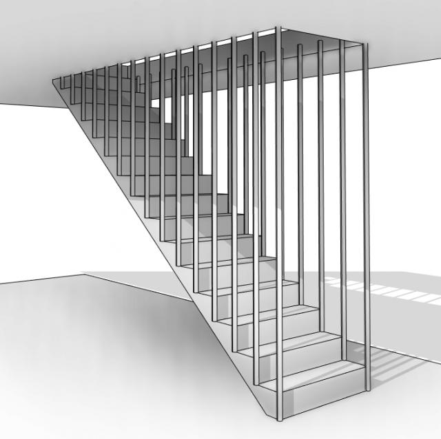 Famille Composants adaptatifs Escalier avec barreaudage Volée > Plafond