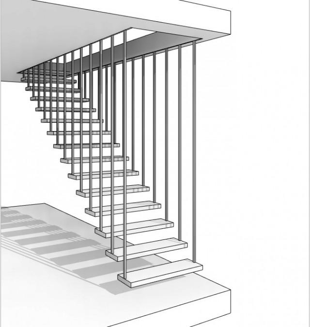 """Escalier à garde-corps contraint au plafond, type """"Treppenmeister"""""""