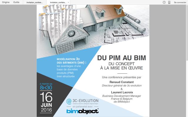 Conférence  PIM/BIM le 16 Juin 2016 à Paris : Du concept à la mise en œuvre