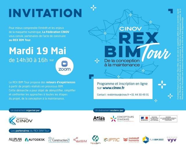 RDV mardi 19 mai à 14h30 pour le 1er REX BIM Zoom avec la CINOV