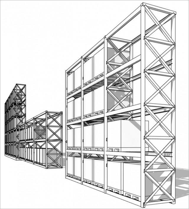 Dynamo Script : Famille pour construire un palettier, Stockage, Rayonnage